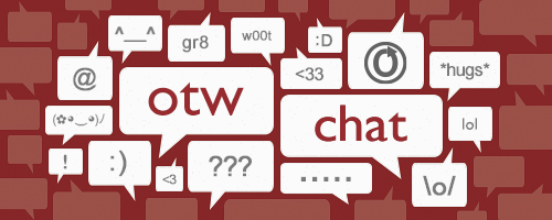 Banner by caitie with 'otw chat' at its center and emoticons and other symbols in word bubbles surrounding it.