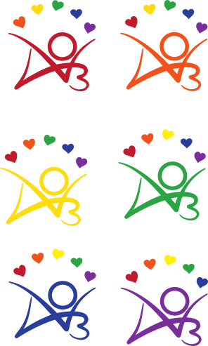 Six stickers, each featuring the AO3 logo with five rainbow-colored kudos hearts in an arc above it. The logo is depicted in red, orange, yellow, green, blue, and purple.