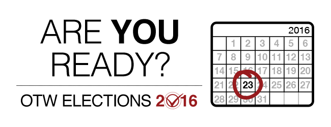 OTW Elections 2016: are you ready? Monthly calendar for 2016 with the 23rd day marked.