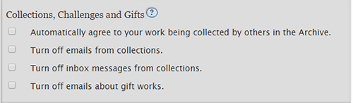 The Collections, Challenges and Gifts user preferences.