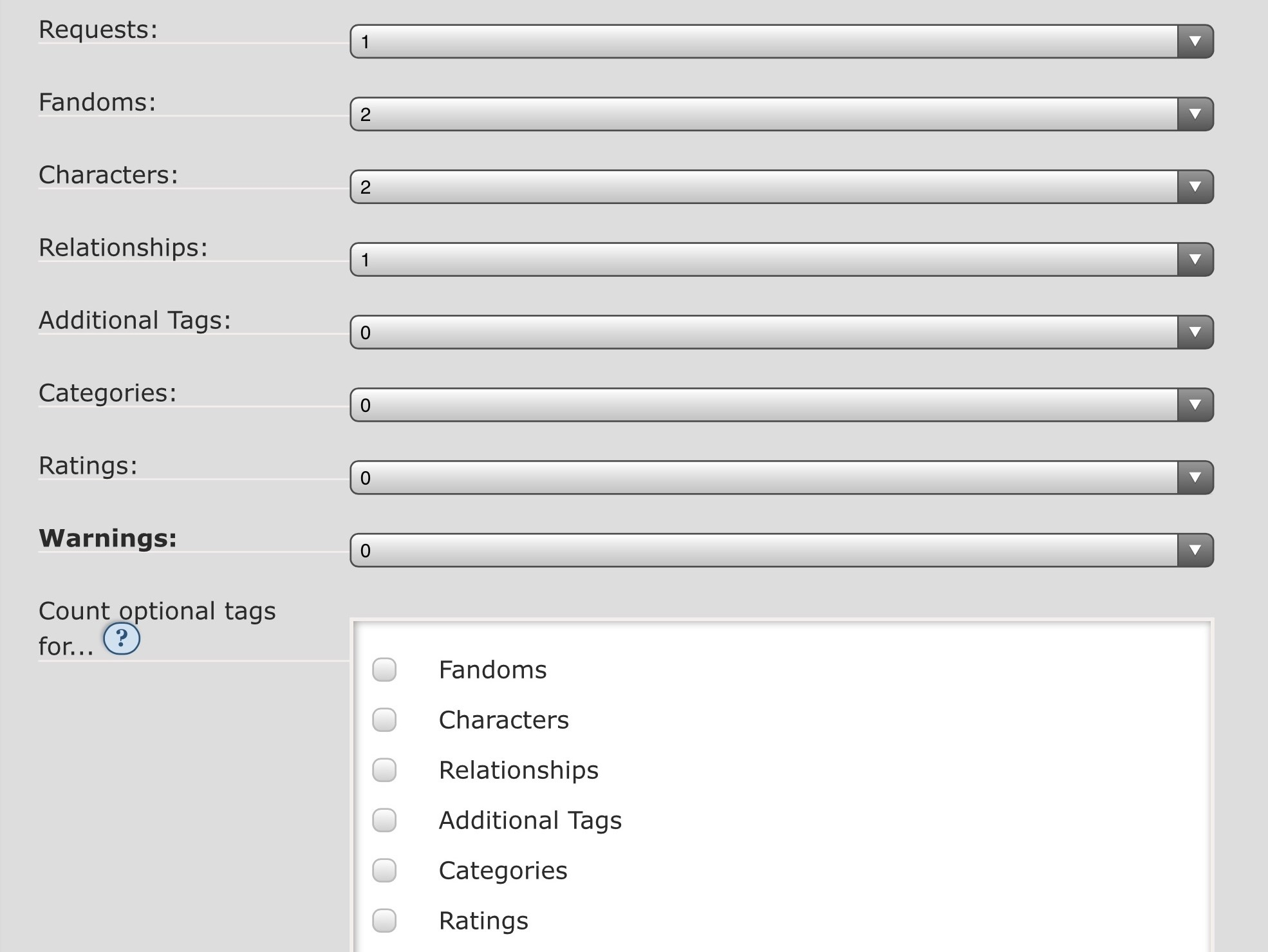 Screenshot: an example selection of match settings, the details of which are explained in the following section.
