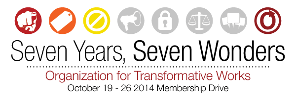 Banner with seven circles and a 'No' sign in the third one, reading 'Seven Years, Seven Wonders, Organization for Transformative Works, October 19-26 2014 Membership Drive'