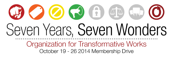 Banner with seven circles and a megaphone in the fourth one, reading 'Seven Years, Seven Wonders, Organization for Transformative Works, October 19-26 2014 Membership Drive'