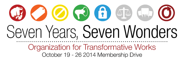 Banner with seven circles and a lock in the fifth one, reading 'Seven Years, Seven Wonders, Organization for Transformative Works, October 19-26 2014 Membership Drive'
