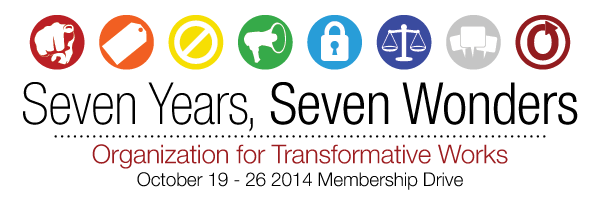 Banner with seven circles and a scale in the sixth one, reading 'Seven Years, Seven Wonders, Organization for Transformative Works, October 19-26 2014 Membership Drive'
