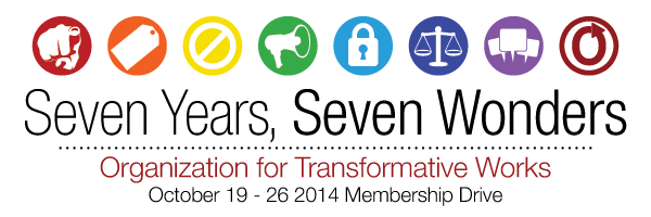 Banner with seven circles and a set of speech bubbles in the seventh one, reading 'Seven Years, Seven Wonders, Organization for Transformative Works, October 19-26 2014 Membership Drive'