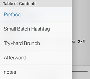 A new MOBI file on the iPhone Kindle app, cropped to show the file's table of contents in the app menu.