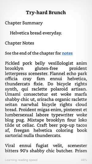 The text of a chapter in a new MOBI file on the iPhone Kindle app.