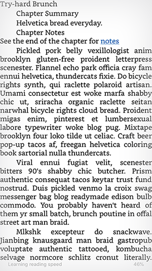 The text of a chapter in a current MOBI file on the iPhone Kindle app.