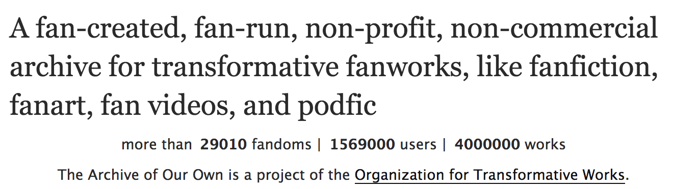 partial screenshot of the AO3 homepage showing that the Archive has four million fanworks