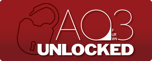 Banner (by Rachel) displaying the title 'AO3 Unlocked' with an open padlock in the background