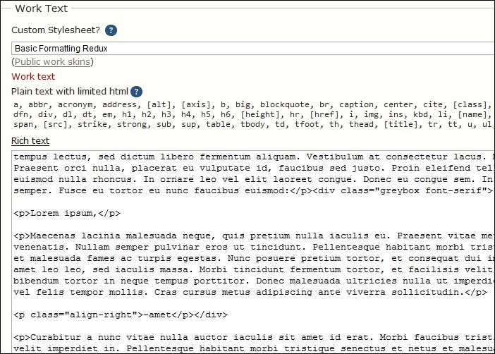 Screenshot of the edit work page, showing the HTML markup needed to apply the CSS