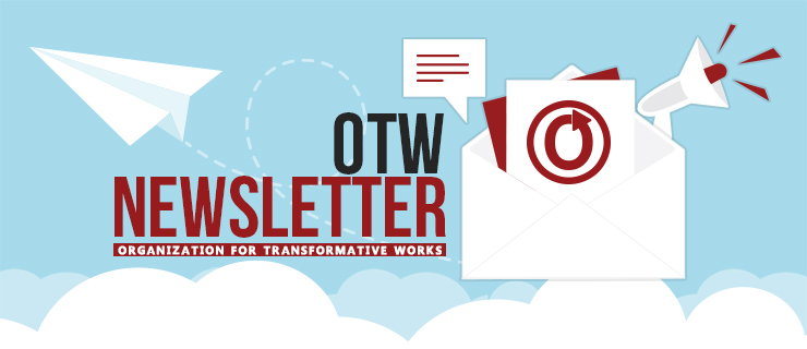 Banner of a paper airplane emerging from an envelope with the words 'OTW Newsletter: Organization for Transformative Works