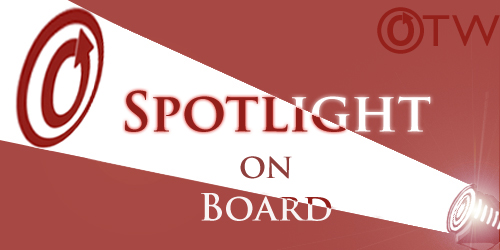 Banner by Erin of a spotlight on an OTW logo with the words 'Spotlight on Board'