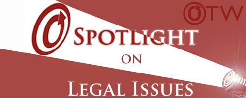 lBanner by Erin of a spotlight on an OTW logo with the words 'Spotlight on Legal Issues'