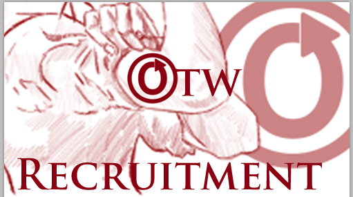 Banner by Erin of a flexed bicep with the words 'OTW RECRUITMENT'
