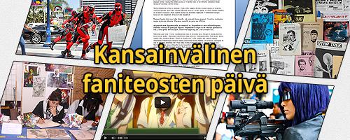 Anian tekemä banneri, jossa on erilaisia faniteoksia kuten cosplay, tekstiä ja kuvataidetta