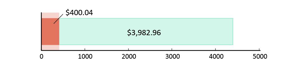 تم صرف 400.04  دولار أمريكي; تبقّى 3982.96 دولار أمريكي