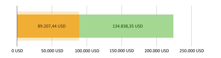 89.207,44 USD brugt; 134.838,35 USD tilbage