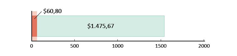 Ξοδεύτηκαν $60,80 και απομένουν $1.475,67