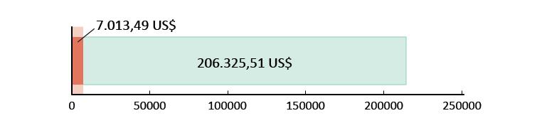 7.013,49 US$ spesi; 206.325,51 US$ rimanenti