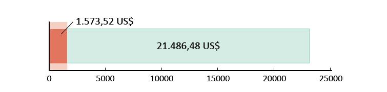 1.573,52 US$ spesi; 21.486,48 US$ rimanenti
