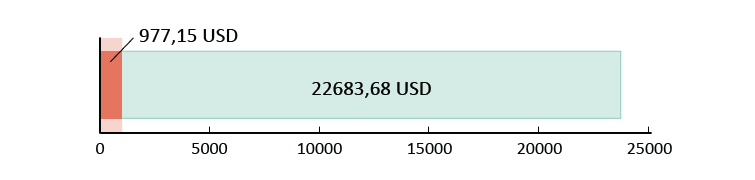 Izlietoti USD 977,15; atlikuši USD 22 683,68