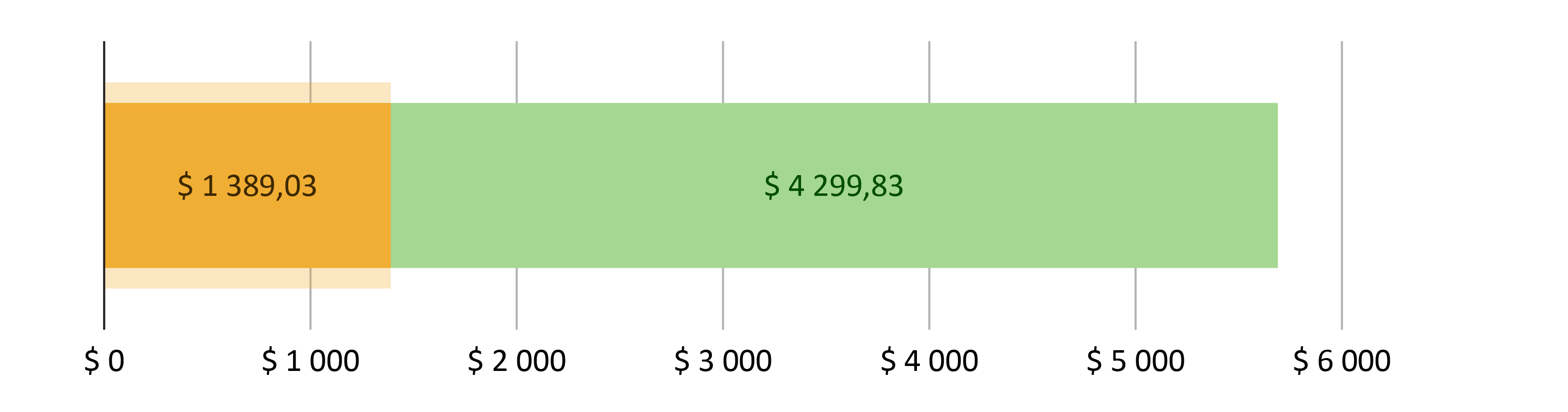 $ 1 389,03 brukt; $ 4 299,83 gjenstår