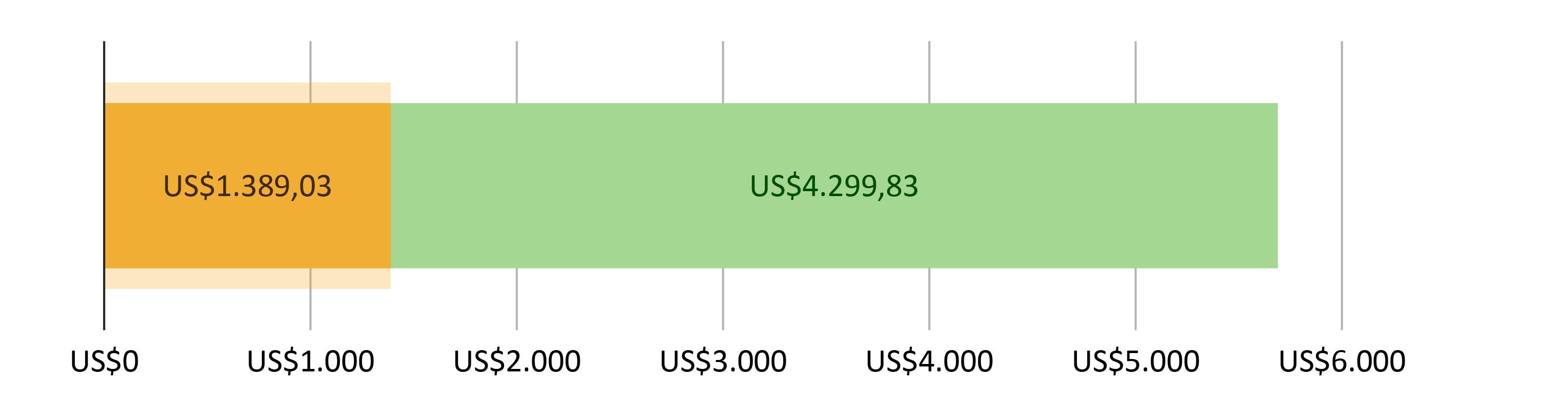 US$1.389,03 gastos; mais US$4.299,83 previstos