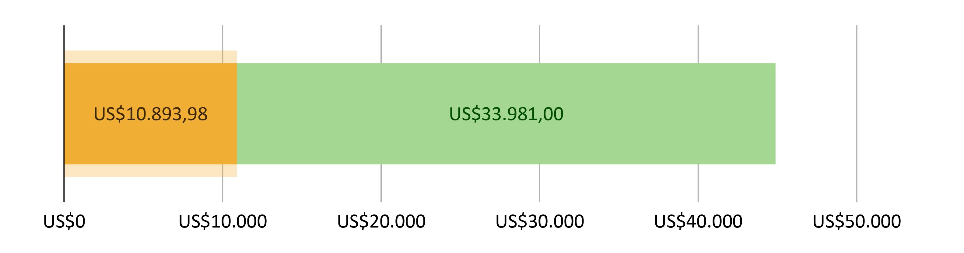 US$10.893,98 gastos; mais US$33.981,00 previstos