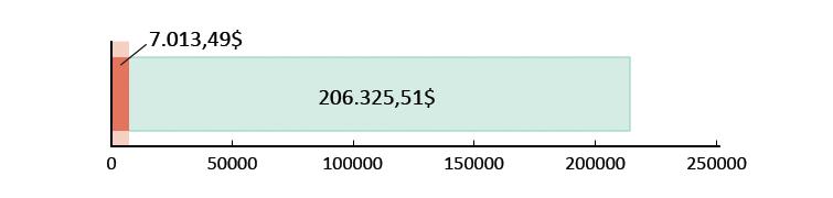 7.013,49$ gastos; sobram 206.325,51$