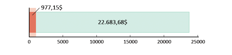 977,15$ gastos; sobram 22.683,68$