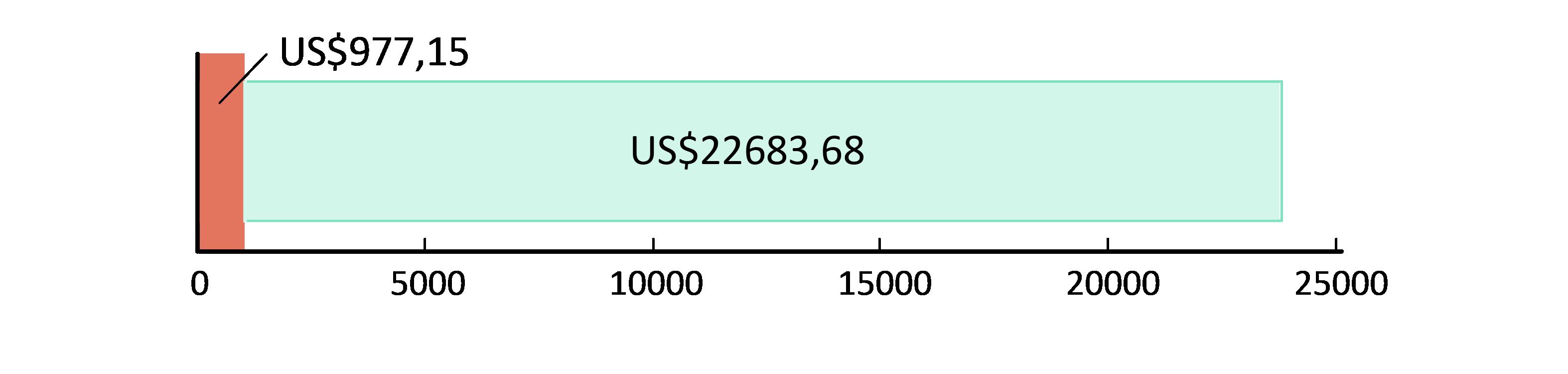 US$977.15 cheltuiți; US$22,683.68 rămași