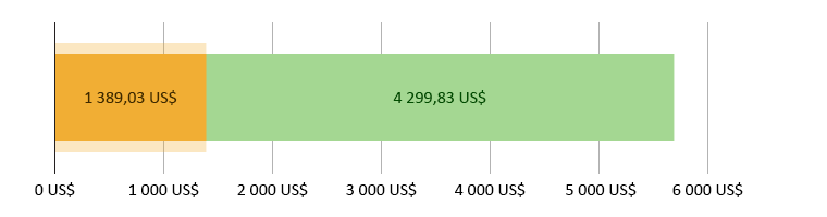 1 389,03 US$ spenderade; 4 299,83 US$ kvar