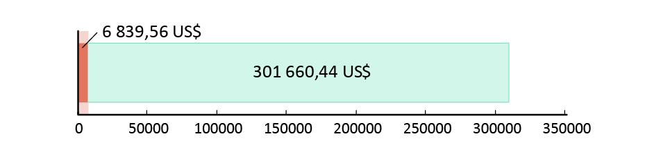 6 839,56 US$ donerade; 301 660,44 US$ kvar