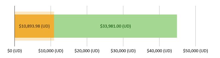 $10,893.98 (UD)  wedi'i wario; $33,981.00 (UD) ar ôl