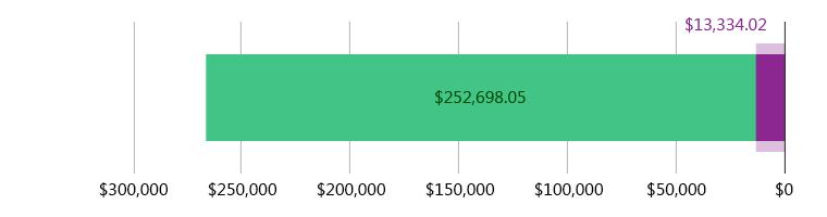 صُرِفَ 13,334.02 دولار أمريكي; وتَبَقّى 252,698.05 دولار أمريكي