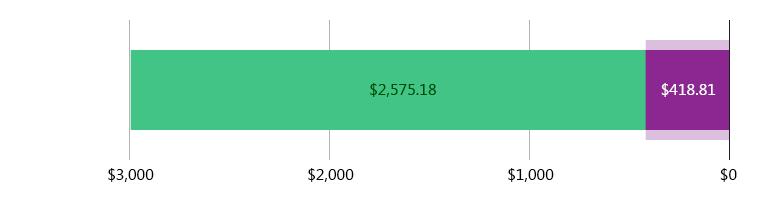 صُرِفَ 418.81 دولار أمريكي; وتَبَقّى 2,575.18 دولار أمريكي