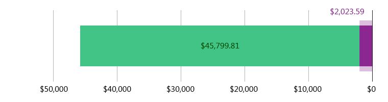 صُرِفَ 2,023.59 دولار أمريكي; وتَبَقّى 45,799.81 دولار أمريكي