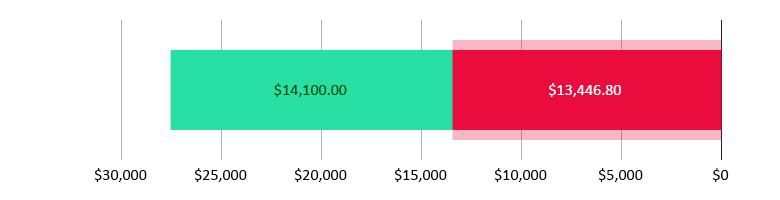 تم صرف 13,446.80 دولار أمريكي; تبقّى 14,100.00 دولار أمريكي
