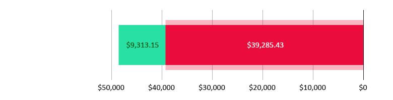 تم صرف 39,285.43 دولار أمريكي; تبقّى 9,313.15 دولار أمريكي