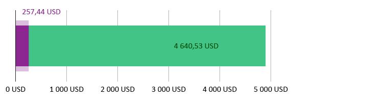 Käytetty 257,44 USD; jäljellä 4 640,53 USD