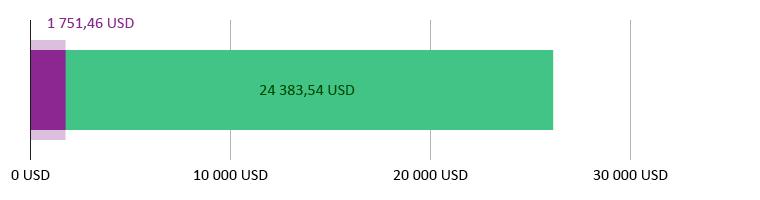 Käytetty 1 751,46 USD; jäljellä 24 383,54 USD
