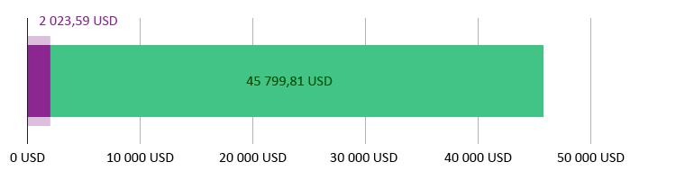 Käytetty 2 023,59 USD; jäljellä 45 799,81 USD