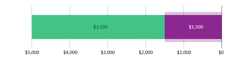 הוצאו $1,500.00; נשארו $3,500.00