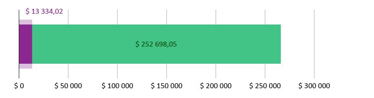 $ 13 334,02 brukt; $ 252 698,05 gjenstår