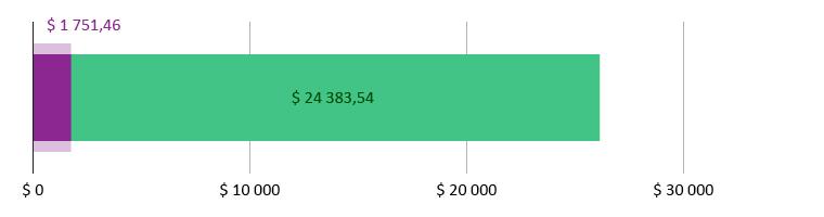 $ 1 751,46 brukt; $ 24 383,54 gjenstår