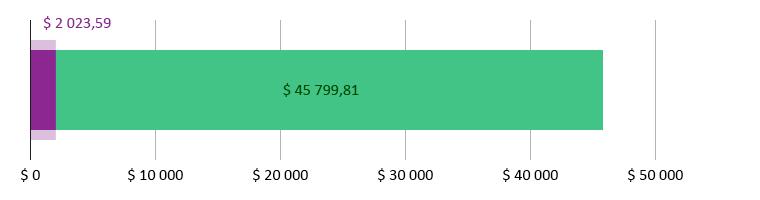 $ 2 023,59 brukt; $ 4 799,81 gjenstår