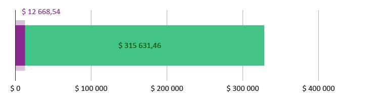 $ 12 668,54 donert; $ 315 631,46 gjenstår