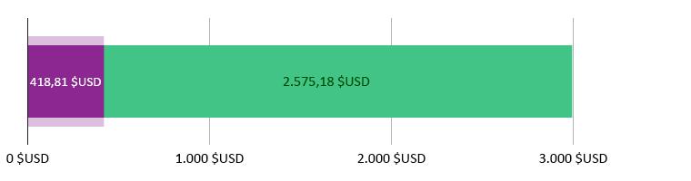 418,81$ USD cheltuiți; 2.575,18$ USD rămași